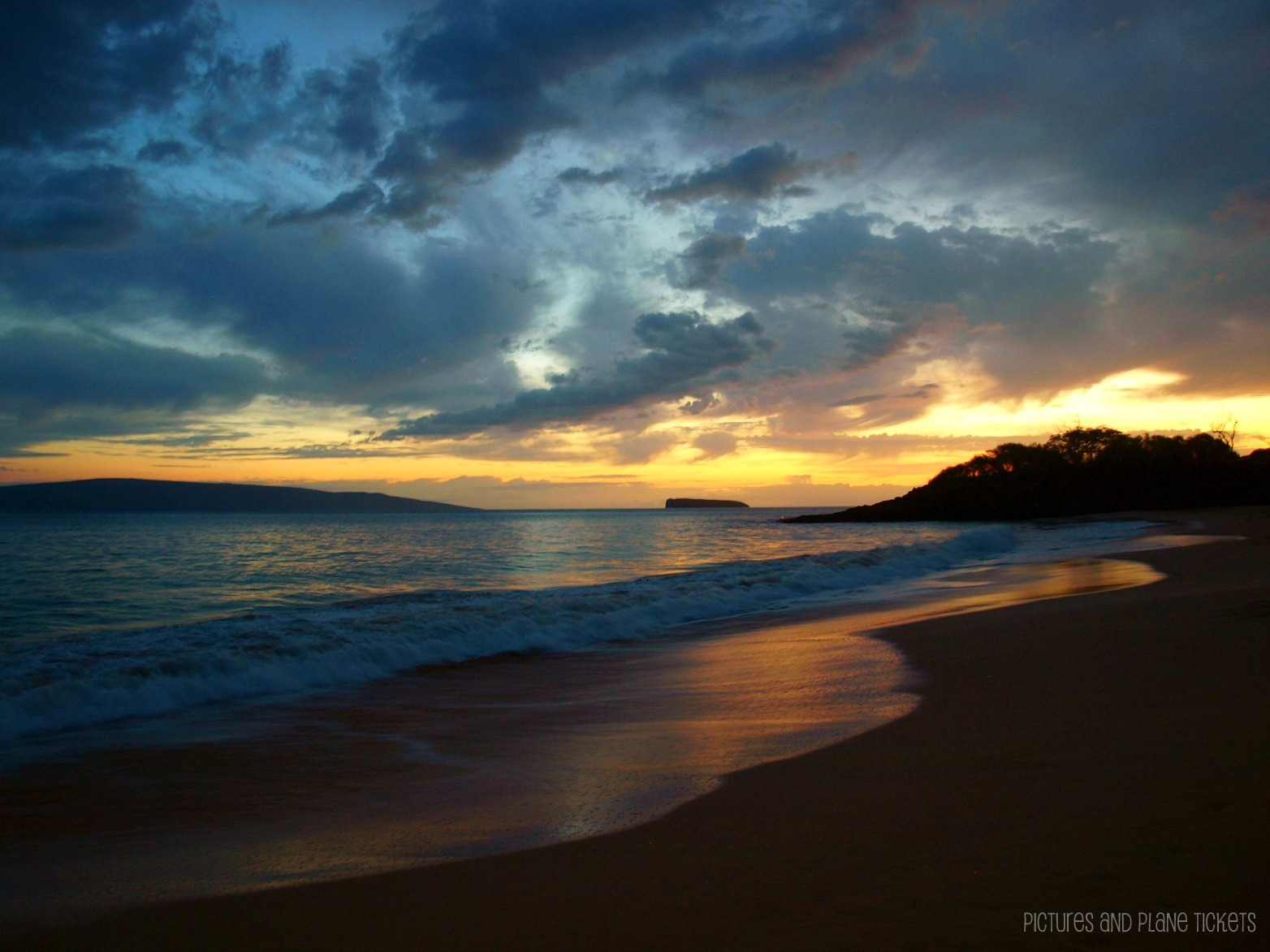 Pictures & Plane Tickets-Maui Big Beach Sunset