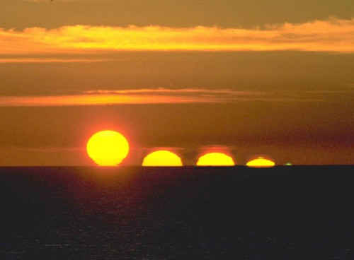 A time lapse of a sunset with the Green Flash