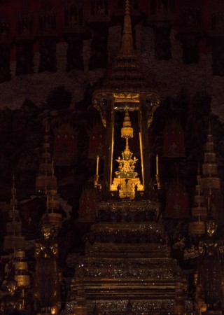 The Emerald Buddha. This picture was taken from the outside of Wat Phra Kaew.